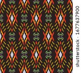 ikat seamless pattern design... | Shutterstock .eps vector #1677637900