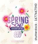 spring sale styles font with...   Shutterstock .eps vector #1677667540