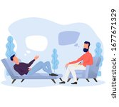 a man is lying on the couch and ... | Shutterstock .eps vector #1677671329