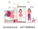 beauty woman trying on things...   Shutterstock .eps vector #1677688666