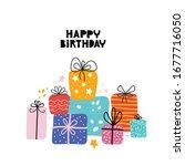 birthday greeting cards design. ... | Shutterstock .eps vector #1677716050