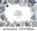 farm vegetables on white... | Shutterstock .eps vector #1677745906