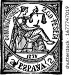 Spain Stamp (2 c de peseta) from 1874, a small adhesive piece of paper stuck to something to show an amount of money paid, mainly a postage stamp, vintage line drawing or engraving illustration.