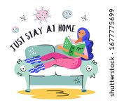 just stay at home. young... | Shutterstock .eps vector #1677775699