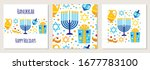 cute set of happy hanukkah ... | Shutterstock .eps vector #1677783100
