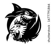 shark and lion in black and...   Shutterstock . vector #1677791866