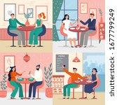 couple on date in restaurant....   Shutterstock .eps vector #1677799249
