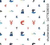ocean icons pattern seamless.... | Shutterstock .eps vector #1677828010