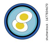 sliced   boiled egg on a blue...