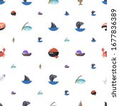sea icons pattern seamless.... | Shutterstock .eps vector #1677836389