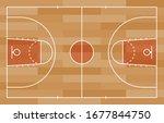 basketball court floor with... | Shutterstock .eps vector #1677844750