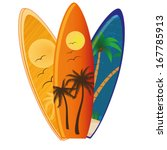 three different surfboards with ... | Shutterstock .eps vector #167785913