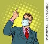 businessman in a medical mask.... | Shutterstock .eps vector #1677870880