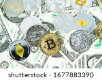 various cryptocurrency coins on ... | Shutterstock . vector #1677883390