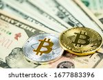 silver and gold bitcoin coins... | Shutterstock . vector #1677883396