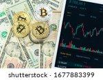 stacks of bitcoins on paper... | Shutterstock . vector #1677883399