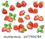 Strawberry Set Watercolor...