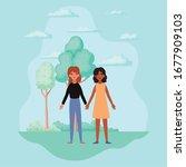 women holding hands trees...   Shutterstock .eps vector #1677909103