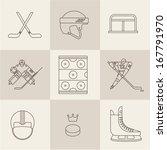 hockey sport icons vector