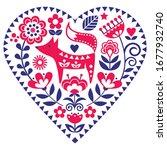 scandinavian heart shape folk...   Shutterstock .eps vector #1677932740