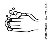 wash hands icon  washing hands...   Shutterstock .eps vector #1677950416