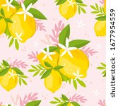 seamless pattern with lemons... | Shutterstock .eps vector #1677954559