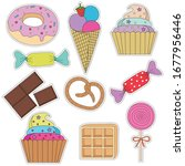 a set of colorful stickers with ... | Shutterstock .eps vector #1677956446