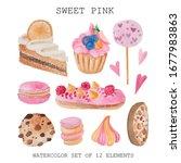 watercolor set of 12 elements... | Shutterstock . vector #1677983863