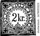 Hungary Newspaper Tax Stamp (2 kreuzer) from 1868, a small adhesive piece of paper stuck to something to show an amount of money paid, vintage line drawing or engraving illustration.