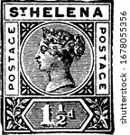 St. Helena Stamp (1-1/2 d) from 1890, a small adhesive piece of paper stuck to something to show an amount of money paid, mainly a postage stamp, vintage line drawing or engraving illustration.