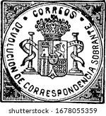 Spain Return Letter Stamp (value unknown) from 1873, a small adhesive piece of paper stuck to something to show an amount of money paid, vintage line drawing or engraving illustration.