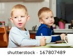 two blond brothers boys kids... | Shutterstock . vector #167807489