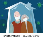 stay at home. old couple.... | Shutterstock .eps vector #1678077349