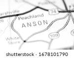 Anson. North Carolina. USA on a map
