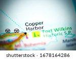 Copper Harbor. Michigan. USA on a map