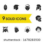 facial icons set with mime ...