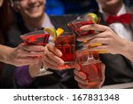 close up of hands with glasses  ... | Shutterstock . vector #167831348