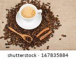 coffee cup and cinnamon | Shutterstock . vector #167835884