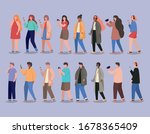 girls and boys with smartphones ...   Shutterstock .eps vector #1678365409