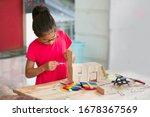 Asian Girl Using Glue To Fix...