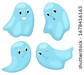 cute ghost character set ... | Shutterstock .eps vector #1678416163