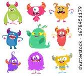 cute cartoon monsters. set of... | Shutterstock . vector #1678451179