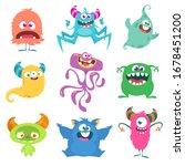 cute cartoon monsters. set of...   Shutterstock . vector #1678451200