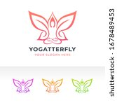 yoga pose and butterfly logo... | Shutterstock .eps vector #1678489453