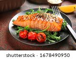 Plate With Cooked Salmon Fillet ...