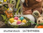 Easter Color Eggs And Rabitts