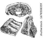 hand drawn sketch meat set....   Shutterstock .eps vector #1678508359