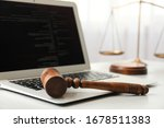 Laptop  Wooden Gavel And Scales ...