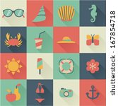 set of flat summer icons | Shutterstock .eps vector #167854718