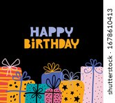 bday presents pile greeting... | Shutterstock .eps vector #1678610413